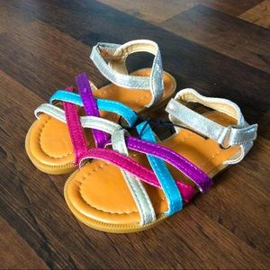 NWOT Toddler girl 6 sandals strappy colorful shoes